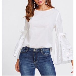 Shein Eyelet Fluted Sleeves Blouse Size XS